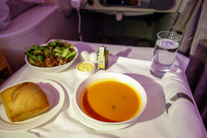 Dubai-Emirates-Airbus A380-Business Class - Before having to return to my seat to eat my next meal, starting with the middle eastern soup like they serve at the wonderful Lezzies Persian Restaur