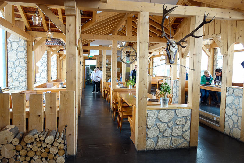 Germany-Garmisch Partenkirchen-Hiking-Zugspitze-Snow - There is a really high end restaurant somewhere, this isnt it, its only open for dinner and they bring you up as a group in the cable car.