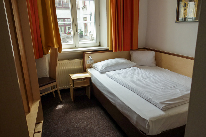 Germany-Garmisch Partenkirchen-Austria-Innsbruck - Finally, this is my hotel room. Its small but fine by me. The bed is actually quite large, the internet works, the bathroom is modern, theres a single