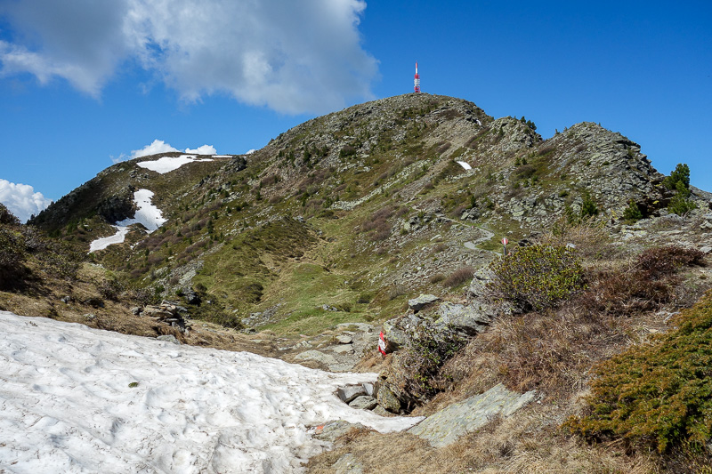 Austria-Innsbruck-Hiking-Patscherkofel - With the summit in site, ice started to reappear, despite it being 25 degrees. I was in shorts and t-shirt.