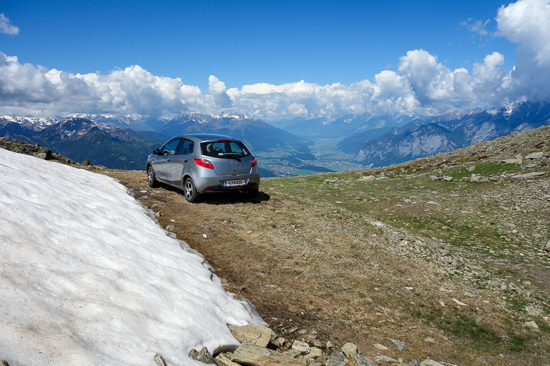 Austria-Innsbruck-Hiking-Patscherkofel - If mountain bikers can make it, why not a Mazda 2? At this stage I had not seen the nice road up, as I had hiked up a goat track, so this was interest