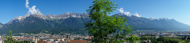 Austria-Innsbruck-Hiking-Patscherkofel - Now we do the panoramas. 1 of 4, from the lower down 'panorama' area. The mountain range across the valley is the one that towers over the city.