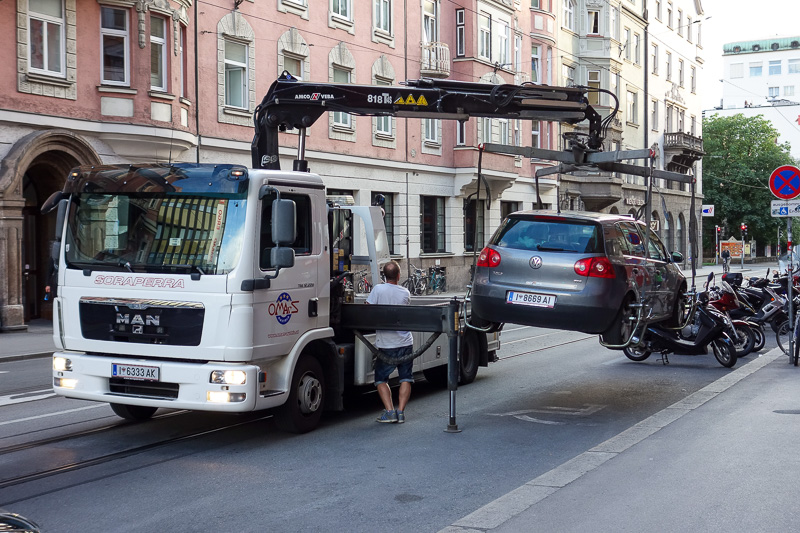 Austria-Innsbruck-Casino - Do not illegally park your car here. The truck pulled up, and within 30 seconds had the things under the wheels and the car in the air. I wonder what