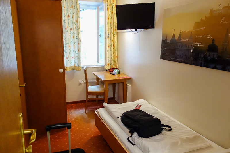 Austria-Innsbruck-Salzburg-Train - And now in all its glory, my mini hotel room. The wifi is blazing fast.