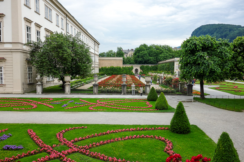 Austria-Salzburg-Mozart-Sausage - This is a sort of nice garden. Its free. Tourists enjoy it. They need to mow the lawn though.