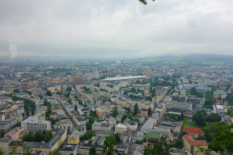 Austria-Salzburg-Kapuzinerberg - Now we do the view, the old city and the cliffs where I am staying are to the left.