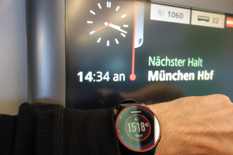 Austria-Germany-Salzburg-Munich-Train - Proof of lateness! Wheres my refund! My watch is angry I have sat still for too long.