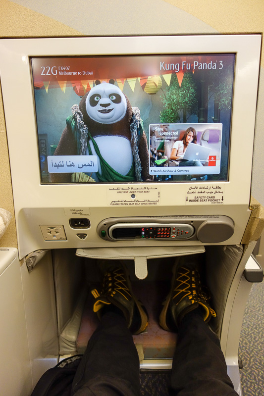 Melbourne-Emirates-Airbus A380-Business Class - Large size screen and foot well, I enjoyed all 3 Kung Fu Panda films.