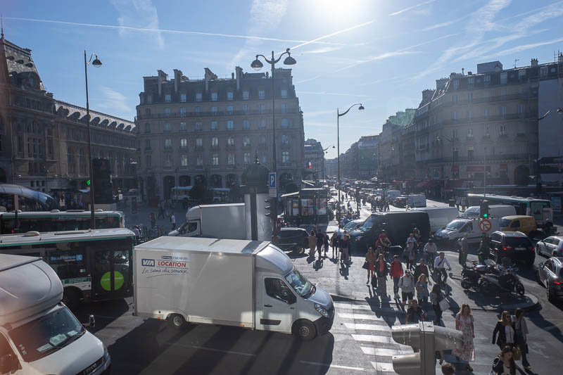 France-Paris-Sightseeing - And here is the busy station area, as seen through the double glazed heavily tinted window of the cafe where I got a seat for a second coffee. Color c