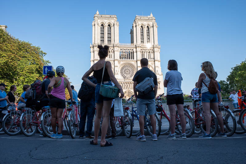 France-Paris-Sightseeing-Notre Dame - Now we will take a tour of the burnt down Notre Dame. Bike tours are everywhere and a nuisance. Electric scooters are even more everywhere and even mo