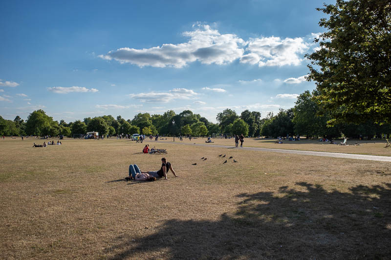 England-London-Hyde Park - Here is Hyde Park. You are allowed on the grass, hence it is dead. In France you are not allowed on the grass, only on the gravel. So pick your side,