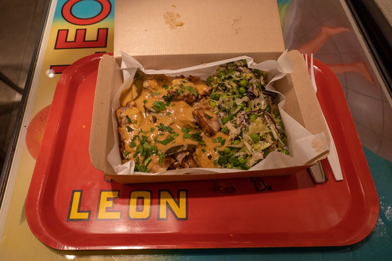 England-London-Covent Garden - Immediate dinner required. This is a chain called Leon. All their salad meals look great. They make them fresh despite serving them in a box. They als