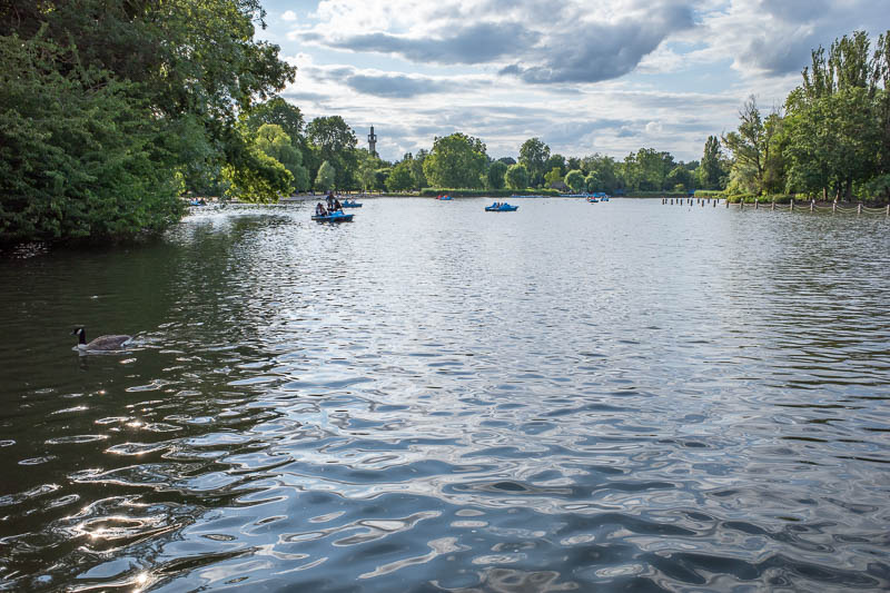 England-London-Regents Park - The boat pond. It was very bright this afternoon despite forecast of epic rain.