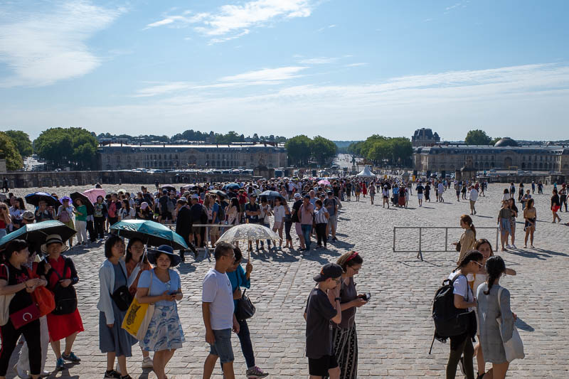 France-Versailles-Palace-Garden - Here is the line looking back down upon the triple 180 degree line experience extravaganza. I knew before coming today that I would not actually go in