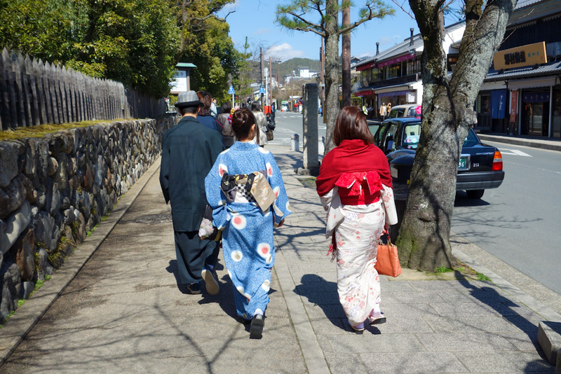 Japan-Kyoto-Arashiyama-Hiking-Bamboo-Monkeys - All over Kyoto, girls get around in Kimonos. I am not sure why, my only theory is they are on their way to work some place that requires you pretend t