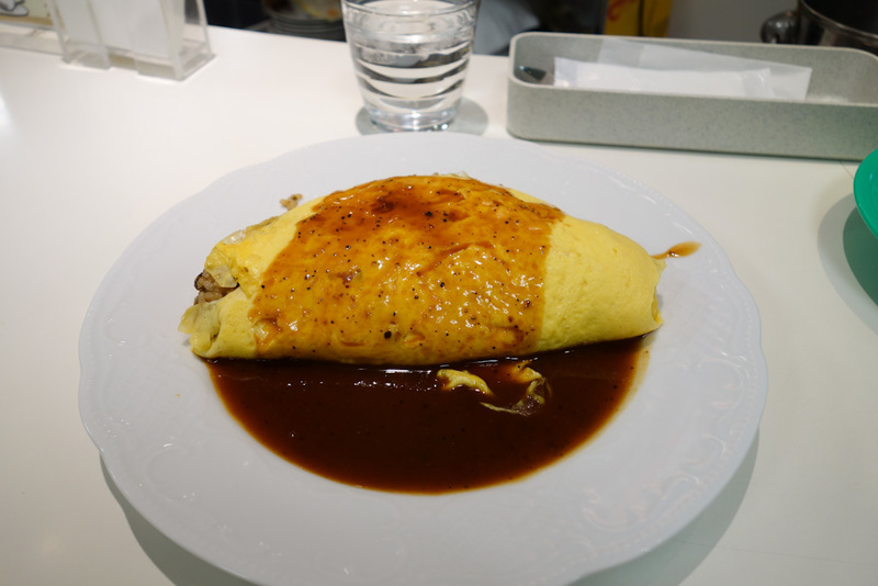 Japan-Kyoto-Arashiyama-Hiking-Bamboo-Monkeys - My lunch, time for omurice. I have no idea what was in mine, it wasnt fishy tasting, and there was definitely cheese and various small mushrooms. Some