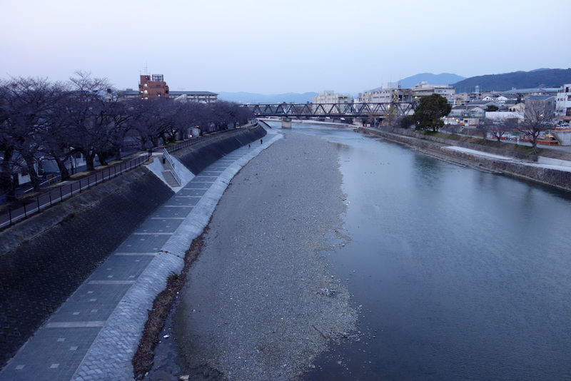 Japan-Kyoto-Shopping Street-Ramen - Right on dusk and I walked over the river to the east of the city. Not one person was on the large bridge with me. Not many people around at all actua