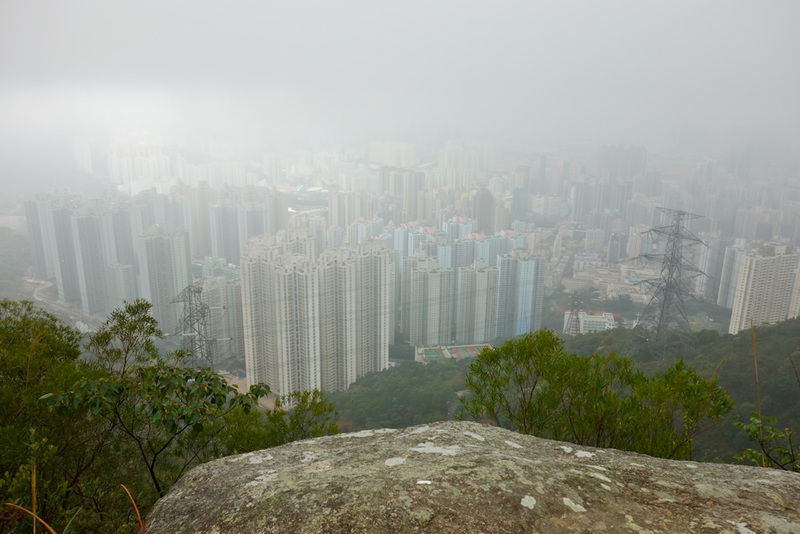Hong Kong-Hiking-Lion Rock-Fog - Last chance for the view. It would be relatively easy to get up to this point at night, theres no gates or anything to stop you. On a clear night it w