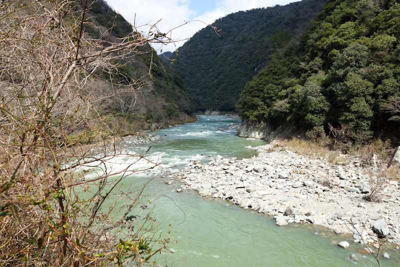 Japan-Osaka-Namaze-Hiking-Tunnel - The raging river below continues to be impressive. An interesting blue green color.
