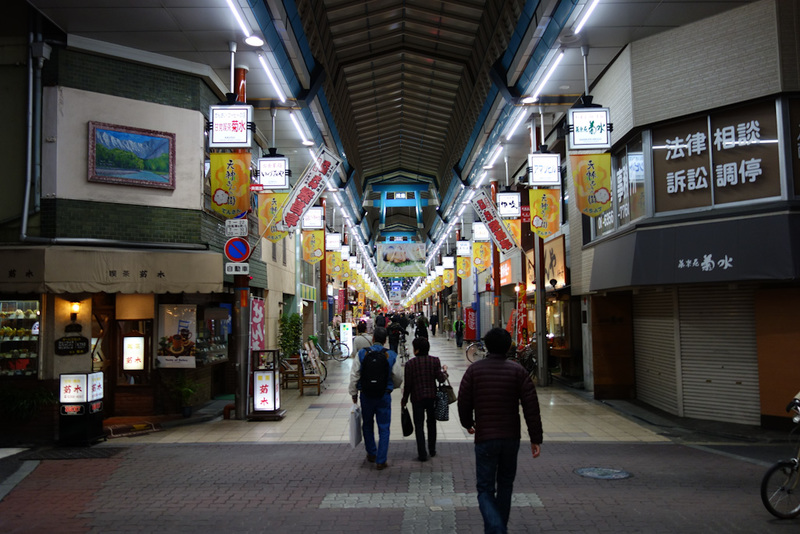 Japan-Osaka-Shinsaibashi-Den Den Town - Then it became very quiet, with lots of stores shut at 6pm.