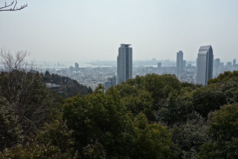 Japan-Kobe-Hiking-Garden-Takaoyama - About half way on my journey, a good spot to stop and use one of the many public toilets and take a progress shot. China levels of smog unfortunately,