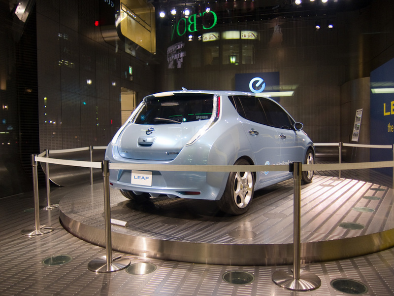 Japan-Tokyo-Ginza-Akihabara - OK, this was sort of interesting, its the Nissan Leaf. Which is apparently all set to become the worlds top selling car. It is an all electric car lik