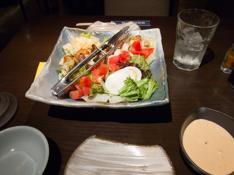 Japan-Tokyo-Shinjuku - I ordered the Cobb salad. This seemed to be one of 2 signature dishes of this establishment, and pretty much everyone there had one (or was sharing on