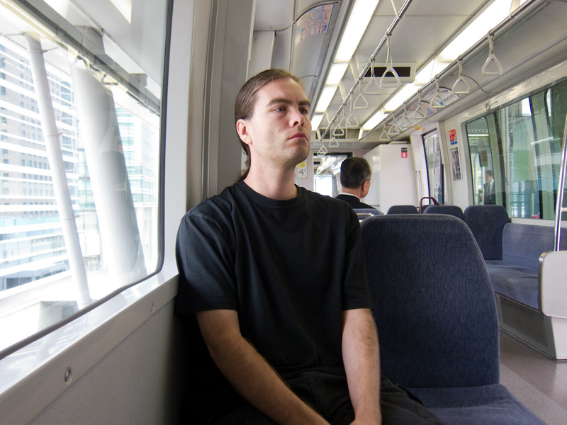 Japan-Tokyo-Odaiba-Shibuya - Here I am sitting on the monorail that goes to Odaiba.