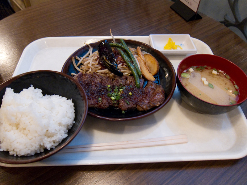 Japan-Tokyo-Odaiba-Shibuya - My lunch is actually a fairly decent steak, with some rice and miso soup. It was delicious and unexpected in a foodcourt for $8. I have noted that whe