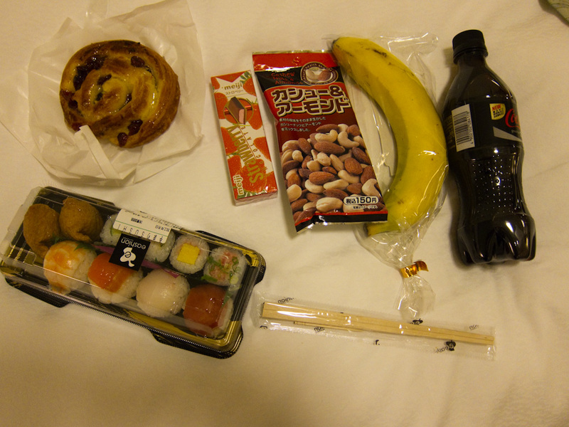 Japan-Tokyo-Odaiba-Shibuya - Heres my dinner. It mostly came from the food hall of a fancy departments store, but was pretty cheap really. The sushi was the best sushi I have ever