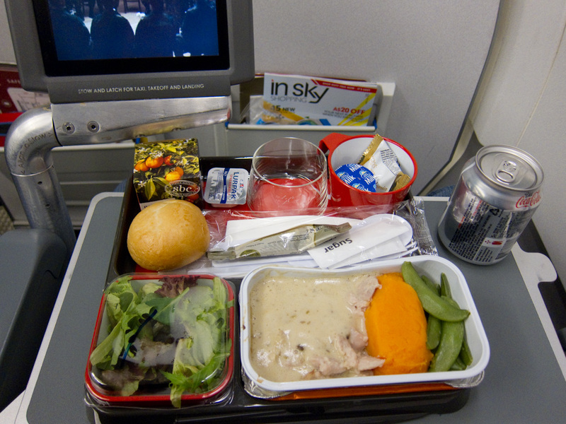 Sydney-Tokyo-Narita-Airbus A330-Qantas - My dinner was some sort of chicken in a cream sauce. The mash pumpkin and snow pea things were really nice, more so than the chicken.