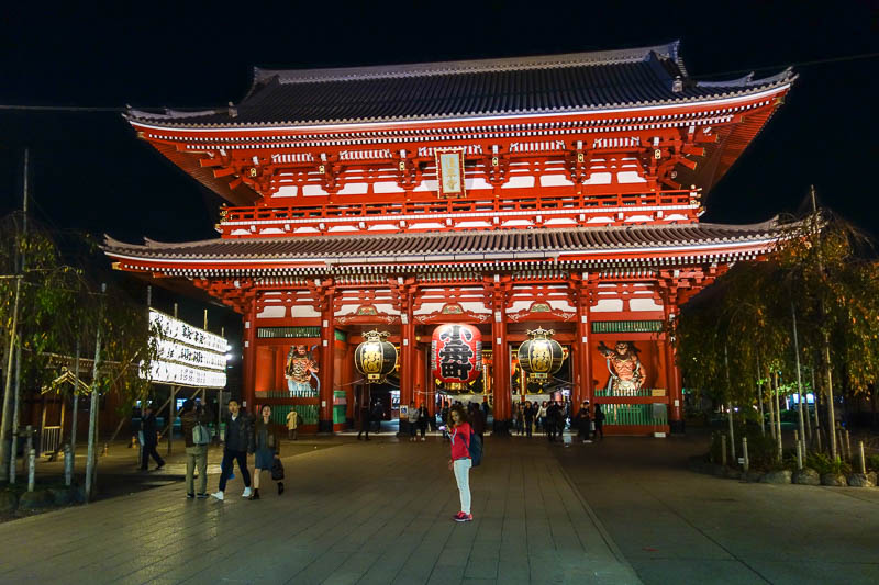 Japan-Tokyo-Asakusa-Shrine-Ramen - The temple, in its night time glory, no one around to enforce the no photos rule.