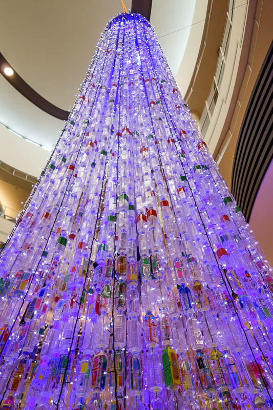 Japan-Tokyo-Mall-Koshigaya-Aeon Lake - A xmas tree made out of plastic bottles fished out of the lake.