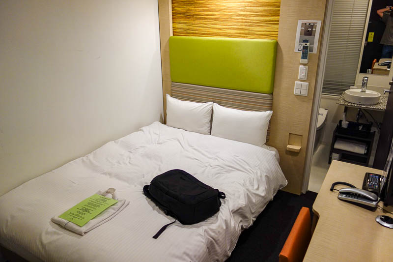 Japan-Narita-Tokyo-Ueno-Train - This is my room, all of it. Probably equal smallest room I have ever had. I think my rooms get better from here for the rest of the trip. Once I have