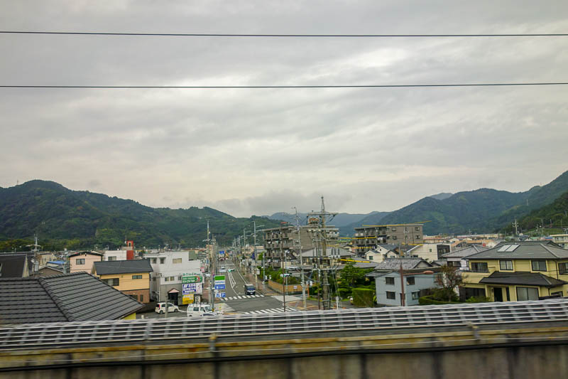 Japan-Tokyo-Nagoya-Shinkansen - It got slightly brighter at one point to see a mountain of sorts.