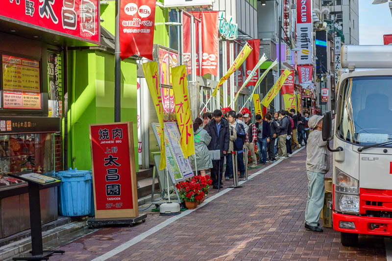 Japan-Tokyo-Ueno-Ameyoko - The only real signs of life were the lines outside of every pachinko parlour waiting for the 10AM open. You cant even win money on these things, yet s