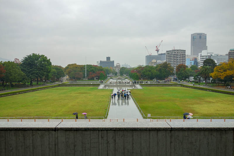 Japan-Hiroshima-Castle-Rain-Memorial - The peace park, is basically a big puddle today.