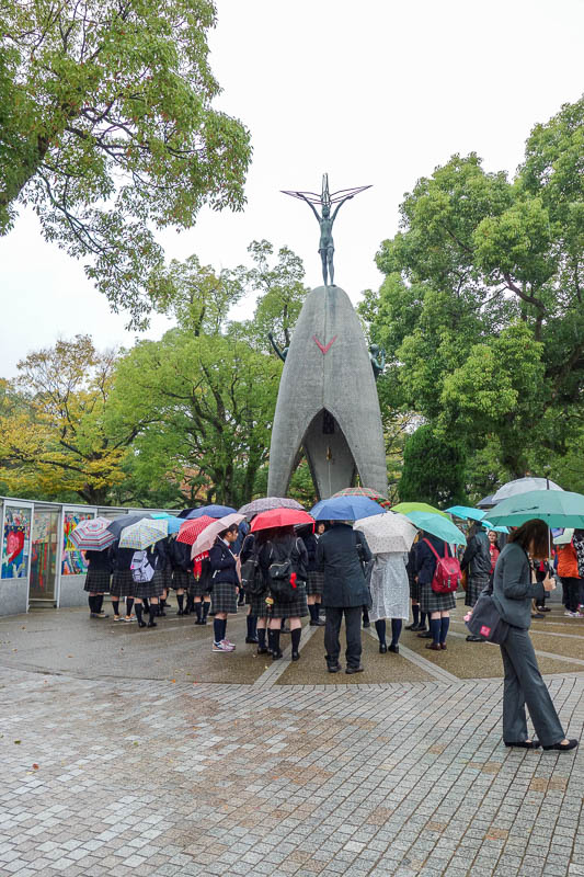 Japan-Hiroshima-Castle-Rain-Memorial - The childrens monument. One thing I learnt, is that as many as a quarter of the people killed were Korean slaves. Hiroshima had been at least partiall