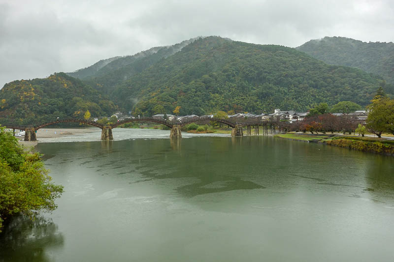 Japan-Iwakuni-Bridge-Rain-Hiking - Instead of paying to walk over, I walked a couple of hundred metres upstream to the next bridge which had no fee to cross. Captain tightarse reporting