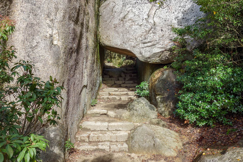 Japan-Hiroshima-Miyajima-Hiking-Mount Misen - A sure sign I was about to be at the top, some boulders and a tunnel.