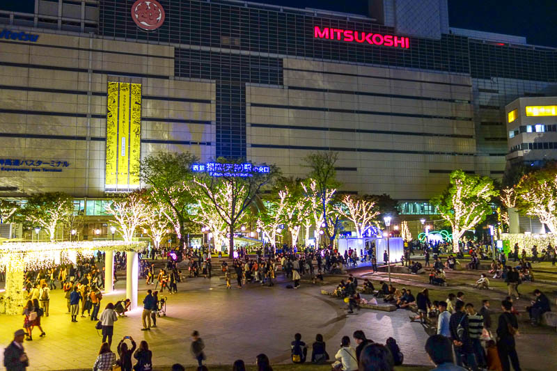Japan-Fukuoka-Mall-Tenjin-Ramen - Mitsukoshi is doing their part to sustain the power industry of Japan by putting millions of lights around the perimeter of their massive store. Lots