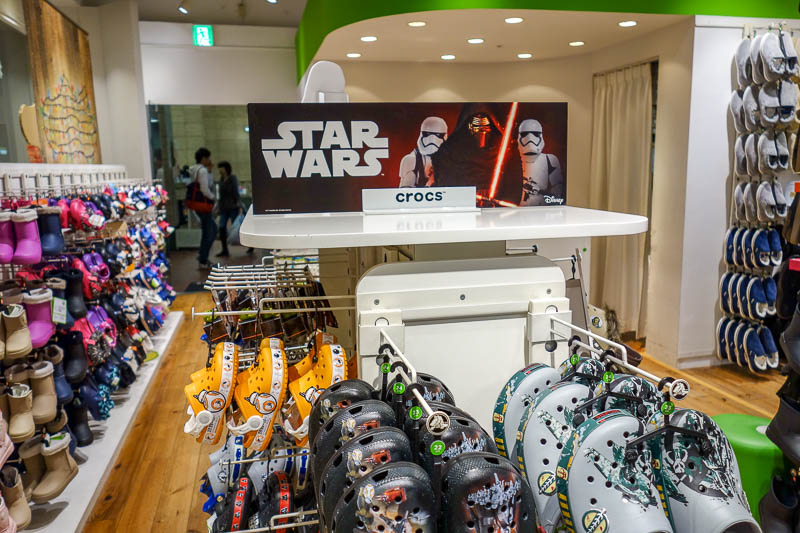 Japan-Fukuoka-Mall-Tenjin-Ramen - Star Wars Crocs. How did Disney convince every single brand for every single product to pay them money? I think they went to all of them and talked up