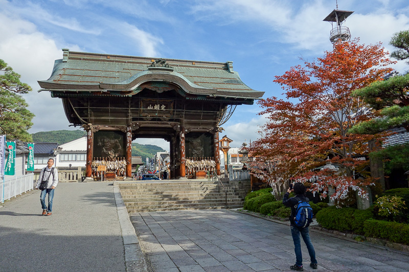 Japan-Nagano-Hiking-Zenkoji - The Daimon Gate. Cool name for a gate. Note that guy in front of me with the backpack. Wherever I would go, he would follow. Then go in front of me an