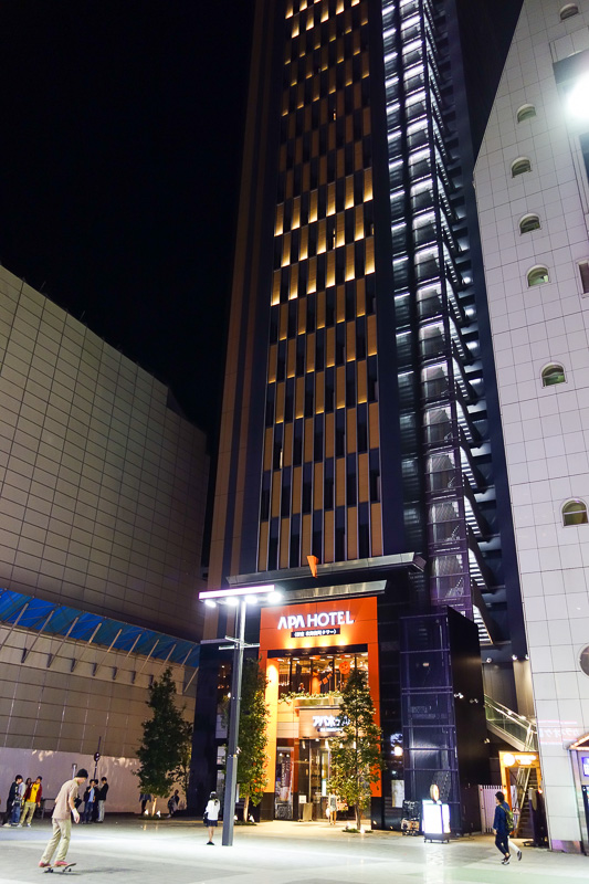 Japan-Tokyo-Narita-Shinjuku - This is the outside of the hotel, I cant get it all in. Theres a large open area in front of it popular with skateboarders. Despite the noise and comm