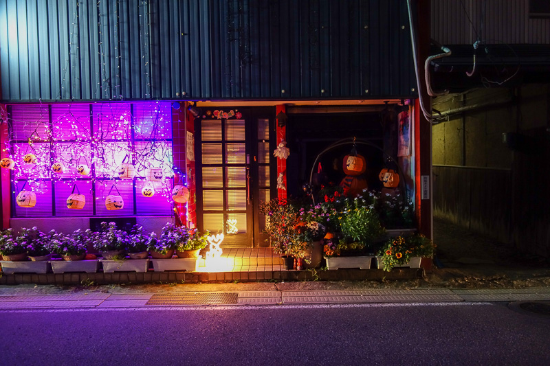 Japan-Nagano-Department Store-Curry - This is someones house, which already has both halloween and christmas lights up.