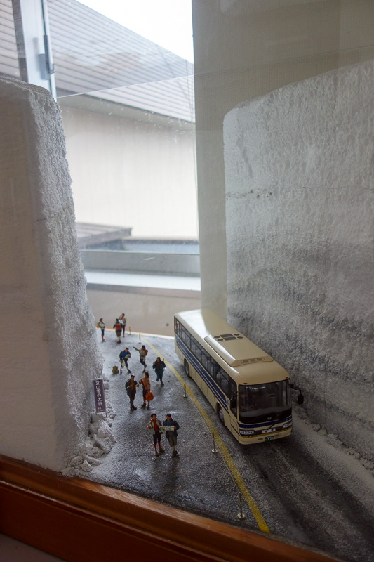Japan-Tateyama-Kurobe-Alpine-Hiking - The alpine route is famous in spring for the snow walls, which are sometimes 15 metres high as depicted in this exciting diorama. It being Autumn now,