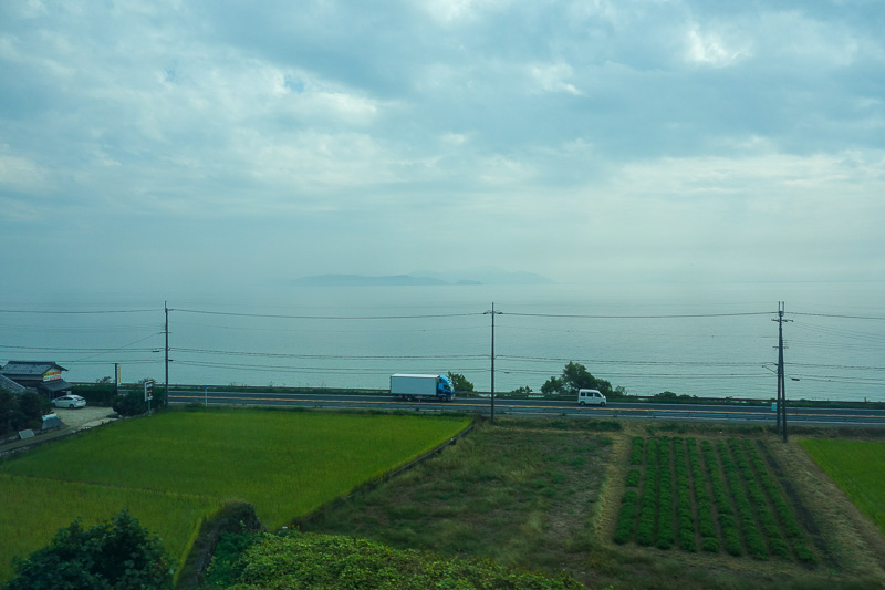 Japan-Kanazawa-Kyoto-Train - The lake. The view of the islands in the lake is one of the top views of Japan. Instead we get to see a haze of sulfur bi fluro triphoxillate.