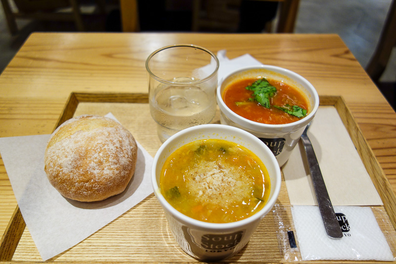 Japan-Kanazawa-Kyoto-Train - I decided on a healthy late lunch, and was happy with my choice. 2 kinds of vegetarian soup.