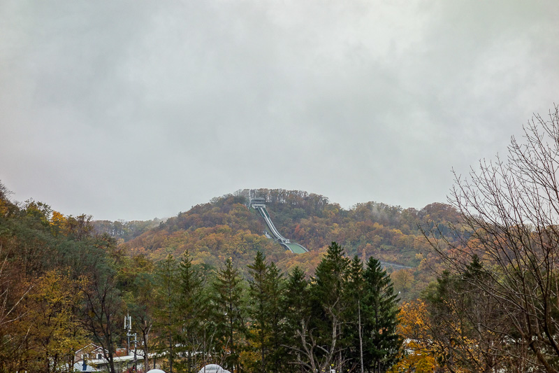 Japan-Sapporo-Zoo-Autumn Colors-Rain - Here is the city ski jump. Sapporo has actually been awarded the winter olympics twice, in 1940 and 1972. They did not get to host them in 1940 though