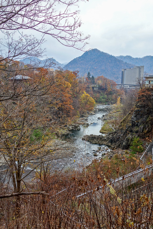 Japan-Sapporo-Snow-Hiking-Jozankei Onsen - After jogging back to the onsen area, heres the view! A bit more colorful. Probably photo of the day, look at that huge hotel! There are lots of them